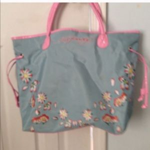 HP. Ed Hardy blue and pink tote